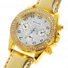 Fashion Ladies Women Imitated Diamond Decoration Quartz Wrist Watch - Gold (1*377)