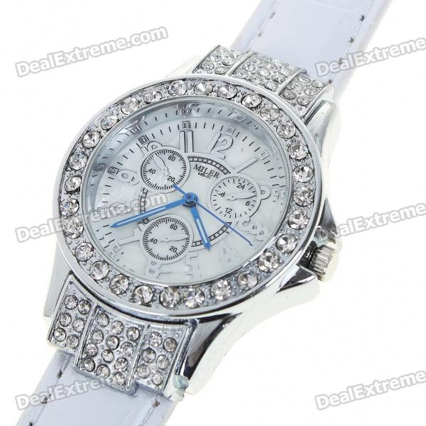 Fashion Ladies Women Crystal Decoration Quartz Wrist Watch - White + Silver (1*377)