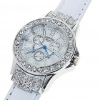 Fashion Ladies Women Imitated Diamond Decoration Quartz Wrist Watch - White + Silver (1*377)