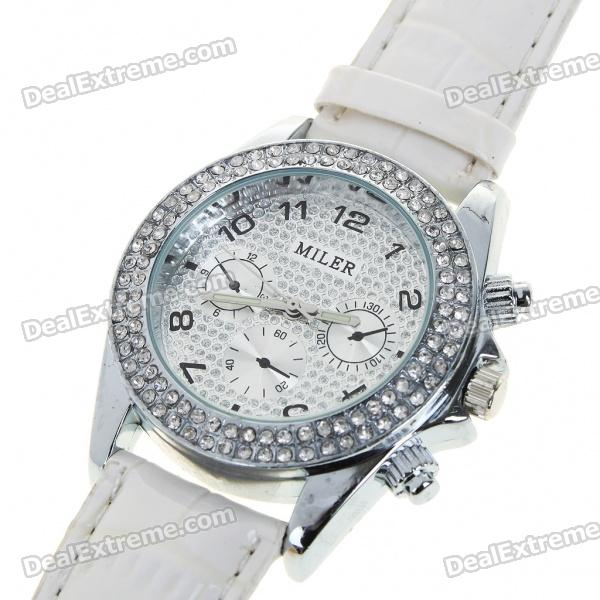 Fashion Ladies Women Crystal Decoration Quartz Wrist Watch - Milk White (1*377)