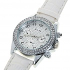 Fashion Ladies Women Imitated Diamond Decoration Quartz Wrist Watch - Milk White (1*377)