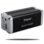 9000mAh Mobil External Battery Power Charger mit Handy-Adapter - Black + Silver