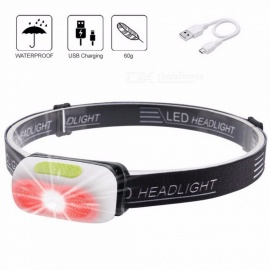 Portable USB Rechargeable Headlamp, Waterproof 3-Mode Headlight Head Torch, Camping Fishing Light W/ Built-in Battery Cold White/White