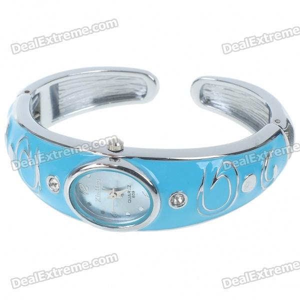 Stylish Bracelet Band Wrist Watch - Blue + Silver (1*377) stylish bracelet band quartz wrist watch golden silver 1 x 377