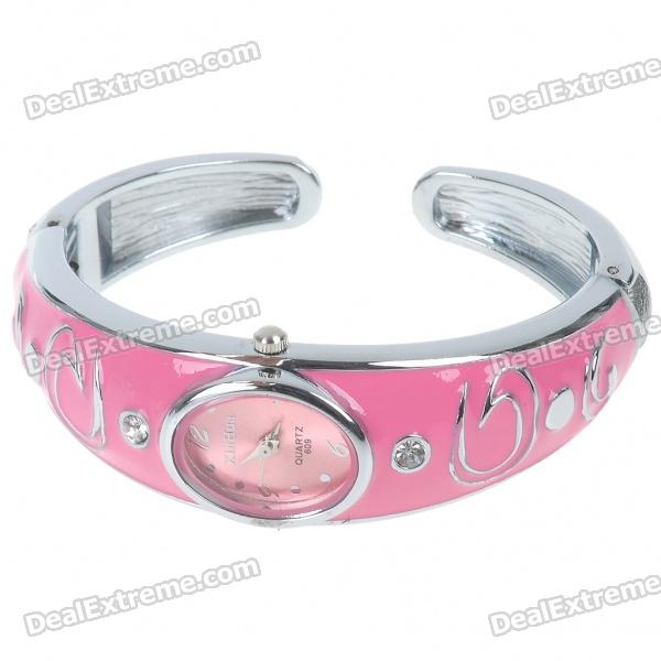 Stylish Bracelet Band Wrist Watch - Pink + Silver (1*377) stylish bracelet band quartz wrist watch golden silver 1 x 377