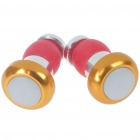 Waterproof 2-Mode Bike Bar-End Red Lights - Golden + Silver (Pair/2*AG10)