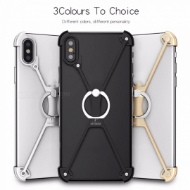 X Style Mobile Phone Crystal Clear Protective Soft Case Metallic Finger Ring Holder For IPHONE X Cases Silver
