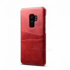 Luxury Brand Back Cover Case Shell Artificial Leather Original Desgin Mobile Phone Cases For Samsung Galaxy S9 Plus Dark Red/Artificial Leather