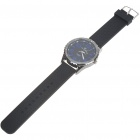 Stylish Silicone Wristband + Metal Dial Wrist Watch - Black (1*377)