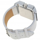 Stylish PU Leather Wristband + Metal Dial Wrist Watch - White + Silver (1*377)