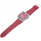 Stylish PU Leather Wristband + Metal Dial Wrist Watch - Red + Silver (1*377)