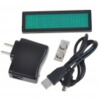 USB Rechargeable Programmable Scrolling LED Name/Message/Advertising Tag Badge - Green Light
