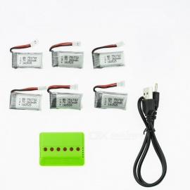 6Pcs 3.7V 260mAh Li-po Battery with 6 in 1 Charger for Hubsan H107 H107C SYMA X5C JJRC H8 mini