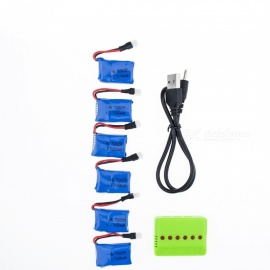 6Pcs 3.7V 200mAh Li-po Battery with 6 in 1 Charger for Hubsan H107 H107C SYMA X5C JJRC H8 mini