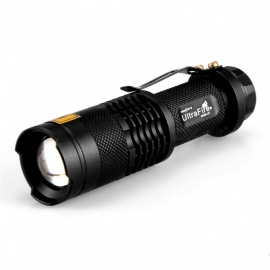 SK68-395nm Mini Portable UV Light Money Checking Zooming Flashlight - Black