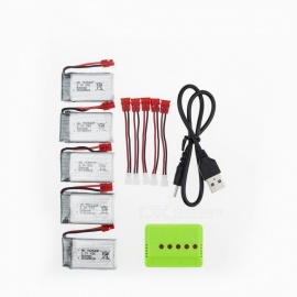 5Pcs 3.7V 500mAh Li-po Battery with 5 in1 Charger and Cable for Hubsan H107 H107C SYMA X5C JJRC H8 mini