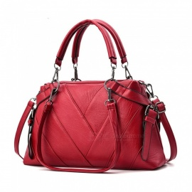 ESAMACT Women Luxury Leather Shoulder Bag Handbag - Red
