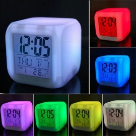 7 Color LED Change Digital Glowing Alarm Clock Night Light for Bedroom Child - White