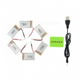 6Pcs Upgraded 802540 High Power 3.7V H8 650mAh Lipo Batteries with 6 in 1 Charger for SYMA X5C X5C-1 X5 JJRC H5C