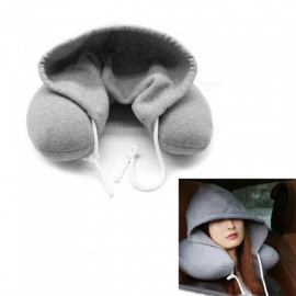 P-TOP Travel Pillow Multi-functional Hooded U-shaped Pillow Neck Pillow Nostalgic Lazy Pillow for Airplane Travel - Gray