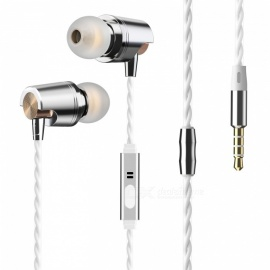 JEDX Stylish Plating Stereo Bass Earphones Wired Earbuds In-Ear 3.5mm Earphones with Microphone for IPHONE MP3 - Gold