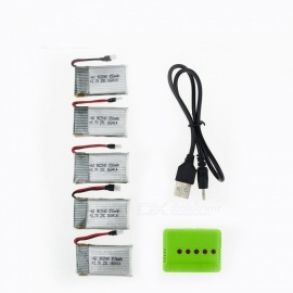 5Pcs 3.7V 850mAh Li-po Battery with 5 in 1 Charger for Hubsan H107 H107C SYMA X5C JJRC H8 mini