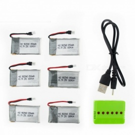 6Pcs 3.7V 850mAh Li-po Battery with 6 in 1 Charger for Hubsan H107 H107C SYMA X5C JJRC H8 mini