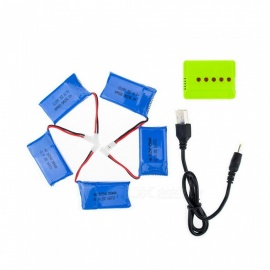 5Pcs 3.7V 850mAh Li-po Battery with 5 in 1 Charger for Hubsan H107 H107C SYMA X5C JJRC H8 mini-blue