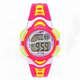 1695 Children's Quartz Watch Silicone Strap LED Luminous 30M Waterproof Girl Colorful Silicone Watch - Pink