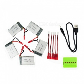 5Pcs 3.7V 1000mAh Li-po Battery with 5 in 1 Charger and Charging Cable for Hubsan H107 H107C SYMA X5C JJRC H8 mini