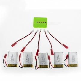 5Pcs 3.7V 1100mAh RC Li-po Batteries with 5 in 1 Charger and Charging Cable for Hubsan H107 SYMA X5C JJRC H8 mini