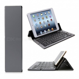 Portable Folding Bluetooth Keyboards Three-System Universal Wireless Folding Bracket Aluminum Keyboard for Mobile Phones - Grey