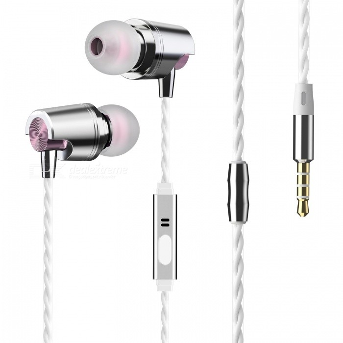 Rose gold earphones with bass - earphones with microphone computer