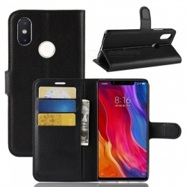 PU Leather Full Cover Wallet Phone Case for Xiaomi 8 SE - Black