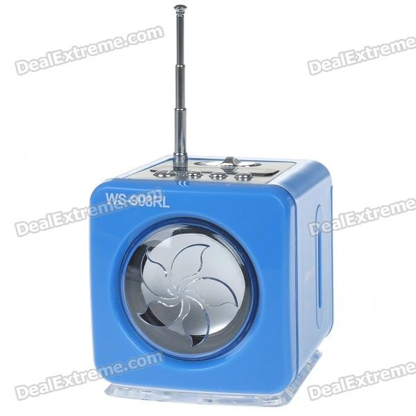 Stylish Portable MP3 Music Speaker with FM Radio/SD Slot/USB Host/Multi-Color LED - Blue stylish portable mp3 music speaker with fm radio sd slot usb host multi color led white