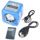 Stylish Portable MP3 Music Speaker with FM Radio/SD Slot/USB Host/Multi-Color LED - Blue