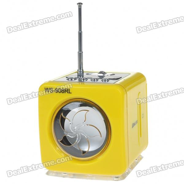 Stylish Portable MP3 Music Speaker with FM Radio/SD Slot/USB Host/Multi-Color LED - Yellow stylish portable mp3 music speaker with fm radio sd slot usb host multi color led white