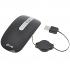 MCSaite USB Optical Mouse with Retractable Cable - Black (70CM-Cable)