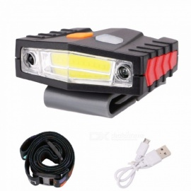 COB LED Induction Hat Clip Lights Headlight Fishing Touch Sensor Headlamp USB Charging Cap Headlights White/Black