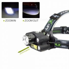 CREE T6 LED+COB Headlight 7 Mode Headlamp Rechargeable Head Flashlight Lamp Frontal Camp Hike Light Cold White/Black