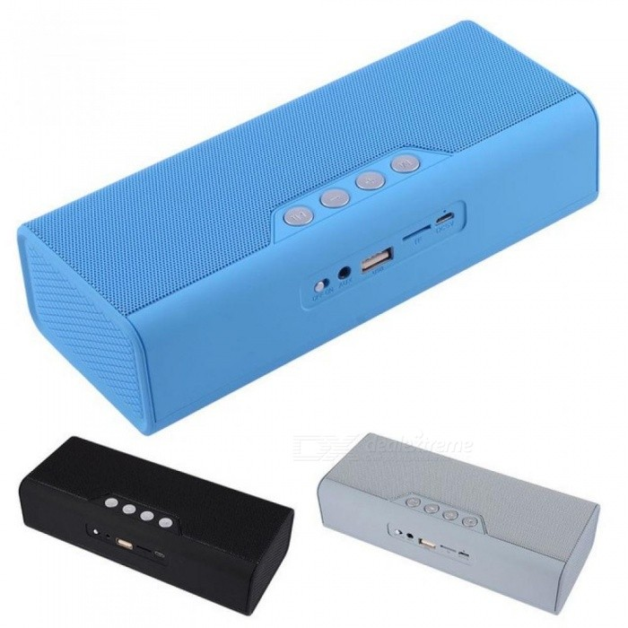 Portable Bluetooth Speaker FM Radio Wireless Music Player Phone Charger AUX Line-in Support USB Flash Drive TF Card Black/Speaker