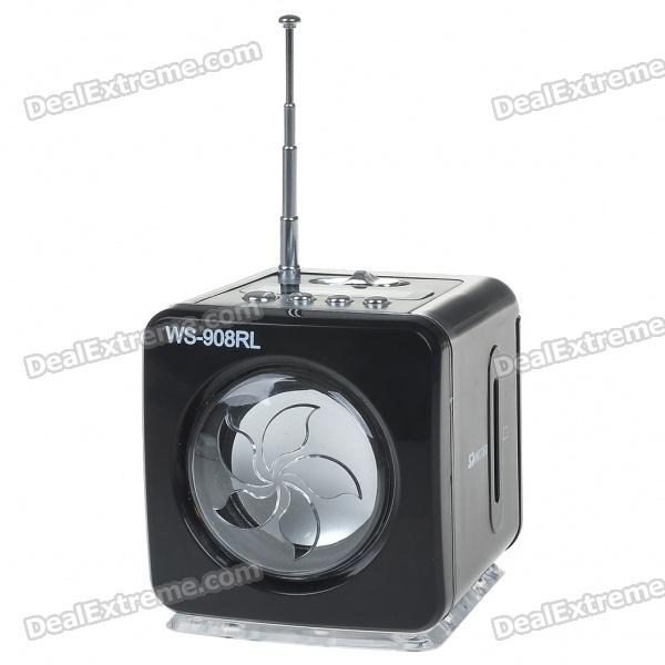 Stylish Portable MP3 Music Speaker with FM Radio/SD Slot/USB Host/Multi-Color LED - Black