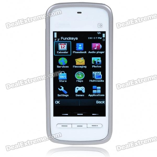 "5230 3.0"" Touch Screen Dual SIM Dual Network Standby Dualband GSM Cell Phone w/ FM +JAVA - White"