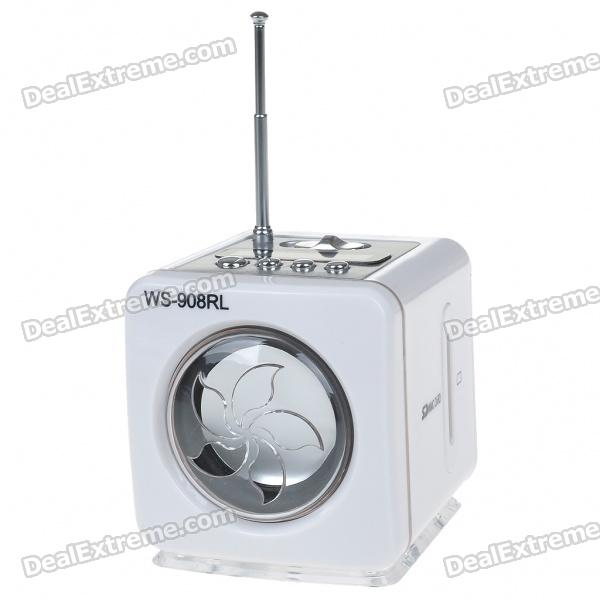Stylish Portable MP3 Music Speaker with FM Radio/SD Slot/USB Host/Multi-Color LED - White stylish portable mp3 music speaker with fm radio sd slot usb host multi color led white