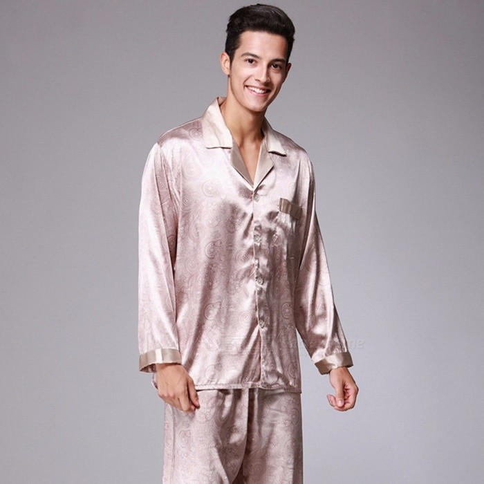 c6c4f6f399 Spring Mandarin Couple Sleeping Long-sleeved Silk Pajamas For Men Satin  Pajama Male Sleepwear Nightgown Home Clothing Gray L - Worldwide Free  Shipping - DX