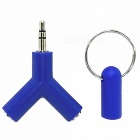 3.5mm Male to Dual Female Audio Split Adapter with Keychain - Blue