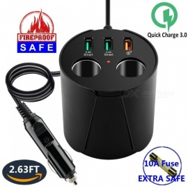 Qi Car Wireless Charger Cup Holder with Triple USB Output Port, Dual Cigarette Lighter Socket