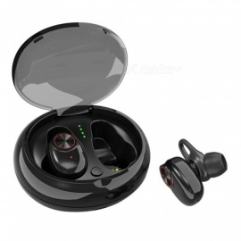 JEDX V5 TWS Wireless Bluetooth Headset, Binaural Wireless Stereo Noise Reduction Sports Earphone with Charger Box - Black