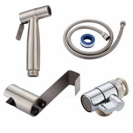 WS024F7 SUS304 Stainless Steel Nickle Bathroom Handheld Bidet Shattaf Sprayer with Valve