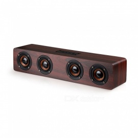 VRrobot W8 Bluetooth Speaker Wireless Stereo Subwoofer Altavoz Wood Home Audio Desktop speaker - Red